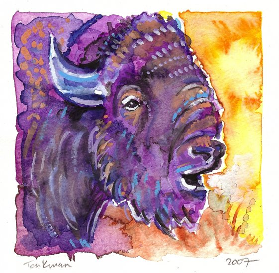 """Bison"" (Buffalo) Watercolor Painting Print"
