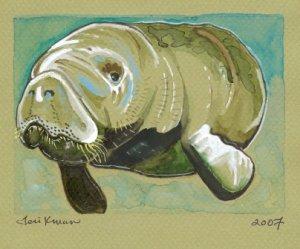"""""""Gentle Manatee"""" Watercolor Painting Print"""