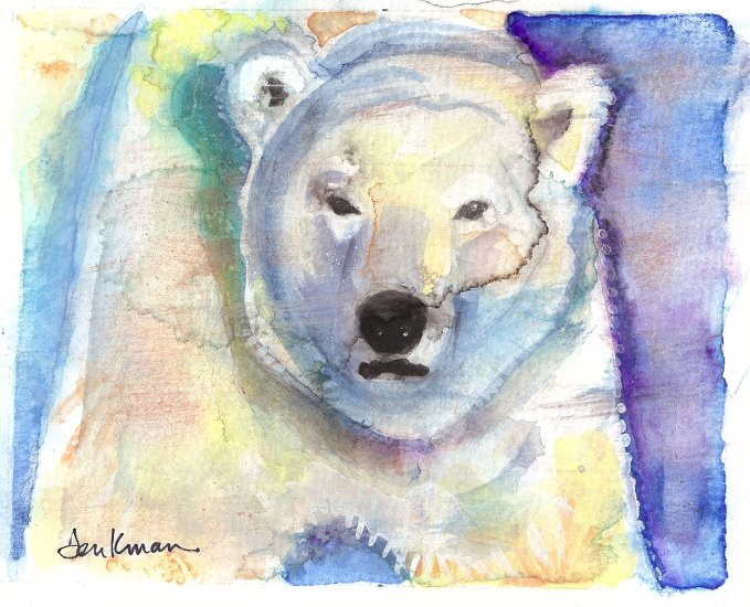 """Polar Bear"" Watercolor Painting Print"