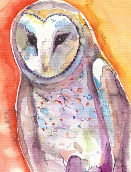 """Shy Barn Owl"" Watercolor Painting Print"
