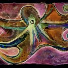 """Electric Octopus"" Watercolor Painting Print"