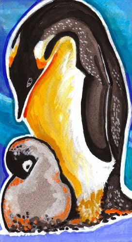 """Penguin and Chick"" Watercolor Painting Print"