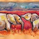"""African Elephants"" Watercolor Painting Print"