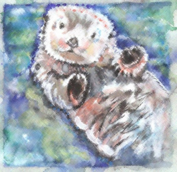 """Dreamy Sea Otter"" Watercolor Painting Print"