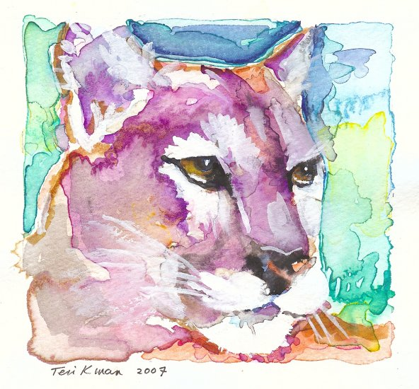 """Mountain Lion"" Watercolor Painting Print"