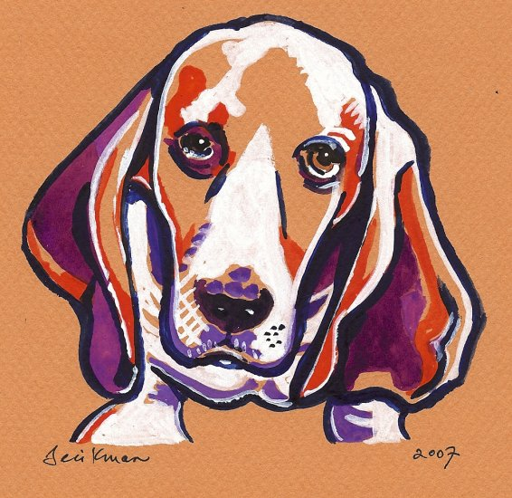 """""""Basset Hound""""  Watercolor Painting Print"""