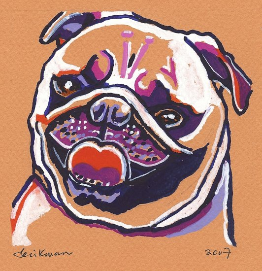 """Happy Pug"" Watercolor Painting Print"