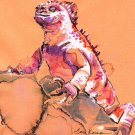"""Smug Marine Iguana"" Watercolor Painting Print"