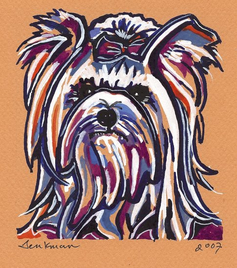 """Yorkshire Terrier"" Watercolor Painting Print"