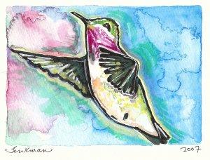 """Hummingbird"" Watercolor Painting Print"
