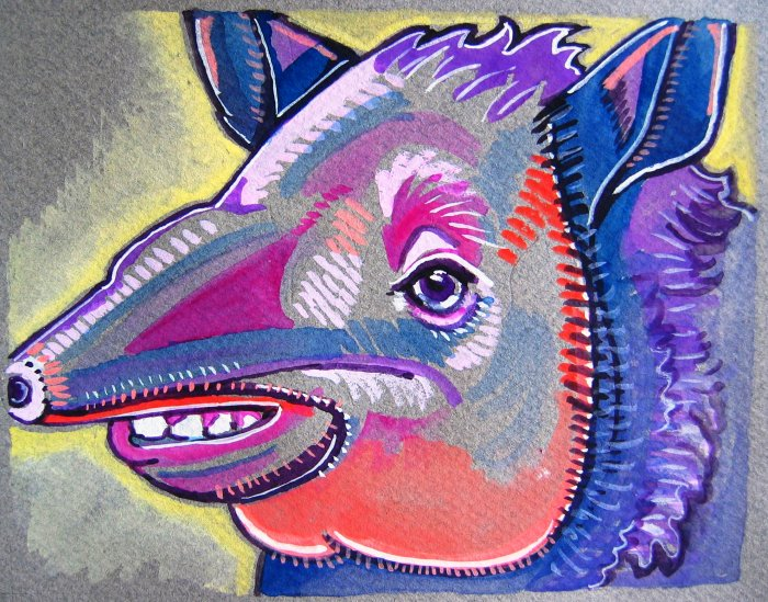 """""""Happy Tapir"""" Watercolor Painting Print"""