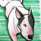 """Bull Terrier on Rug"" Watercolor/Ink Painting Print"
