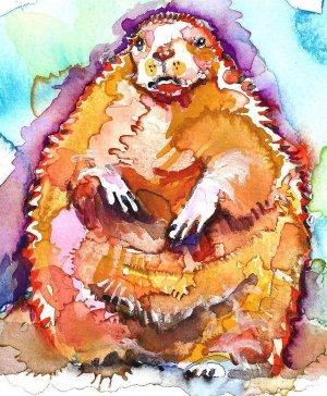 """Groundhog"" Watercolor Painting Print"