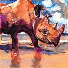 """Black Rhino"" Watercolor Painting Print"