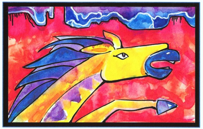 """Lightning Horse"" Watercolor Painting Print"