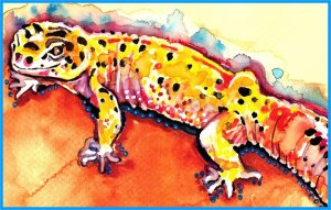 """Leopard Gecko"" Watercolor Painting Print"