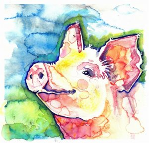 """Piglet"" Watercolor Painting Print"