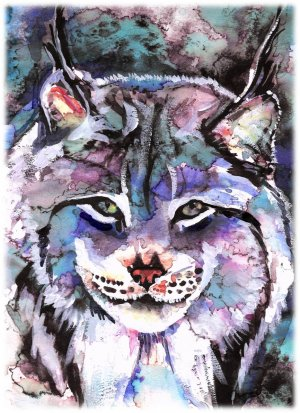 """Lynx"" Watercolor Painting Print"