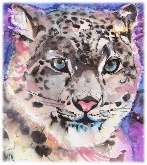 """Snow Leopard"" Watercolor Painting Print"