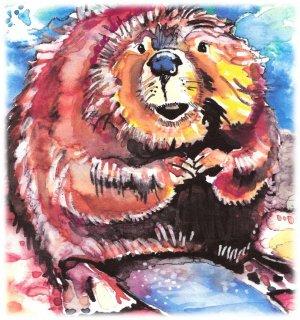 """""""Beaver"""" Watercolor Painting Print"""