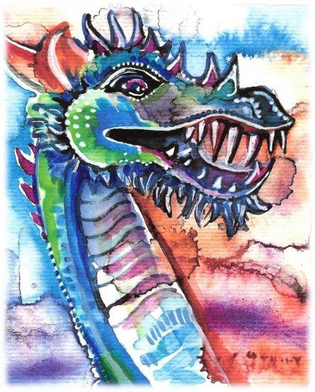 """""""Dragon Laugh"""" Watercolor Painting Print"""