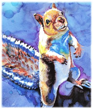 """Squirrel"" Watercolor Painting Print"