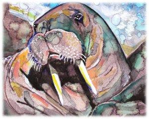 """Walrus"" Watercolor Painting Print"