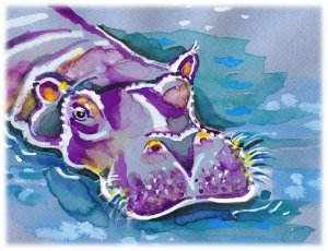 """Hippo"" Watercolor Painting Print"