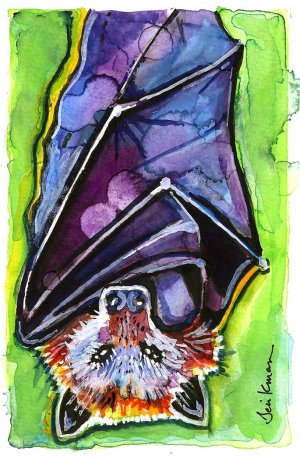 """Fruit Bat"" Watercolor Painting Print"