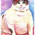 """Fat Cat"" Watercolor Painting Print"