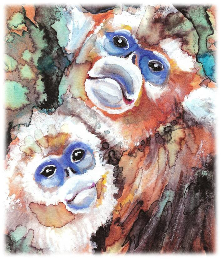 """Snub-nosed Monkeys"" Watercolor Painting Print"