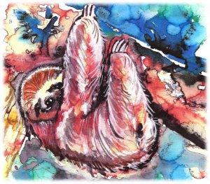 """Three-toed Sloth"" Watercolor Painting Print"