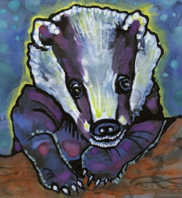 """Nighttime for Badger"" Watercolor Painting Print"