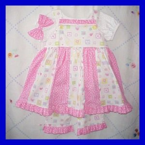 Girls 2T 2 24M Spring Summer Boutique SUNDRESS DRESS SET Pink Polka Dots Kitty Cats Toddler
