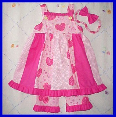 Toddler 3T 3 Spring Summer PINK HEARTS Boutique Girls SUNDRESS DRESS SET New
