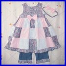 4T 4 Spring Summer ROSE PATCHWORK CHENILLE Boutique SUNDRESS DRESS Set Girls Toddler