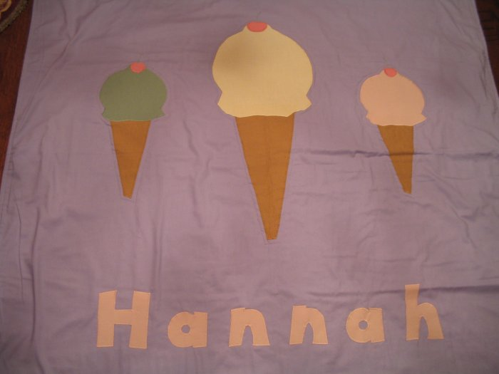 Personalized Ice Cream Cones 100% Cotton Quilt HANNAH **JUST REDUCED