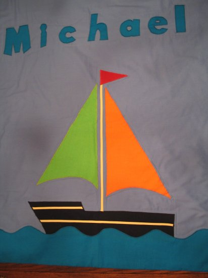Personalized Sailboat 100% Cotton Quilt MICHAEL **JUST REDUCED