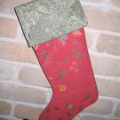 Coral Pink And Green Christmas Stocking **JUST REDUCED HALF PRICE**