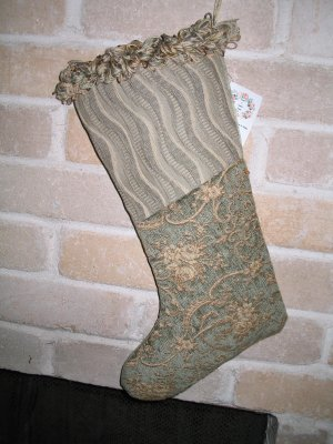 Beautiful Sage Green & Gold Heirloom one-of-a-kind Christmas Stocking **JUST REDUCED HALF PRICE**