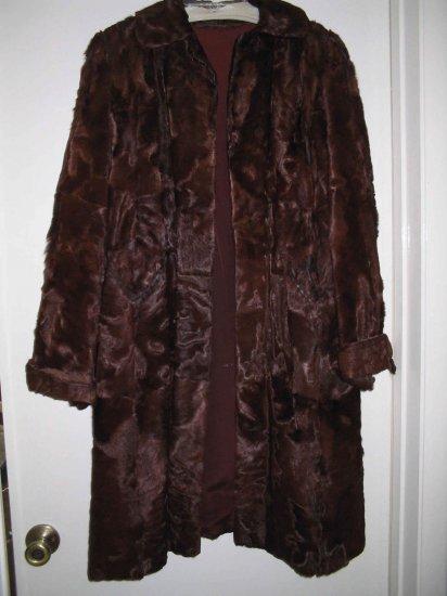 Brown Real Calf fur Ladies Coat sz lg REDUCED $20