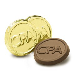 CPA Engraved Milk Chocolate Coins case of 250 Corporate Tradeshow Promotion Giveaways