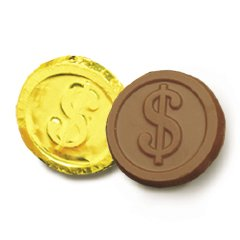 Dollar Sign Engraved Milk Chocolate Coins case of 250 Corporate Tradeshow Promotion Giveaways