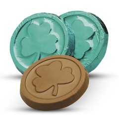 St. Patrick's Shamrock Engraved Milk Chocolate Coins case of 250 Tradeshow Promotion Giveaways