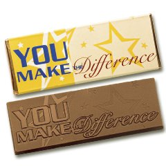 50 You Make The Difference Engraved Milk Chocolate Bars for Clients or Employee Incentives