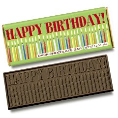 50 Happy Birthday Engraved Dark Chocolate Bars for Party Guests or Employees