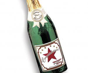 Case of 4 CONGRATULATIONS Chocolate Champagne Bottles Full Size