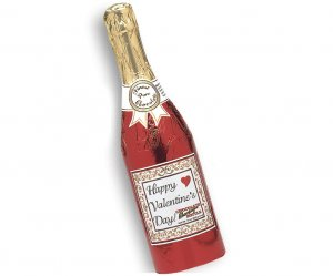 Case of 4 Valentines Chocolate Champagne Bottles Full Size
