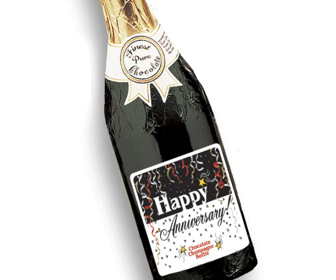 HAPPY ANNIVERSARY Chocolate Champagne Bottles Full Size