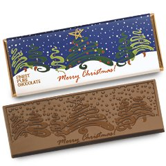 50 MERRY CHRISTMAS Engraved Milk Chocolate Bars for Clients or Party Guests